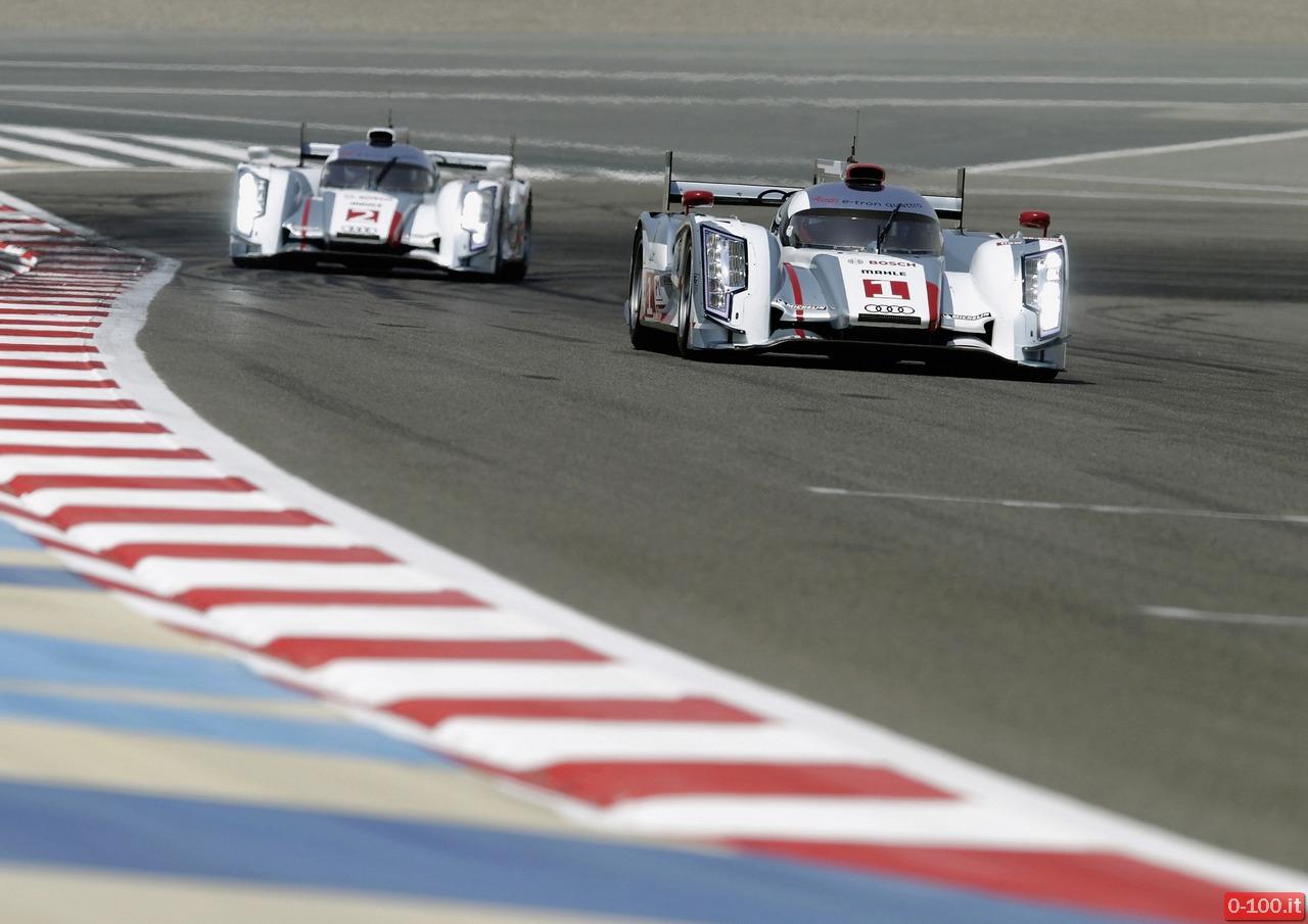 Audi-Doppelsieg in der Hitze von Bahrain/Doppelerfolg in der Wueste von Sakhir: Marcel Faessler/Andr Lotterer/Beno t Tr luyer gewannen im Audi R18 e-tron quattro den sechsten Lauf zur FIA Langstrecken-Weltmeisterschaft WEC in Bahrain. Das Trio gewann das