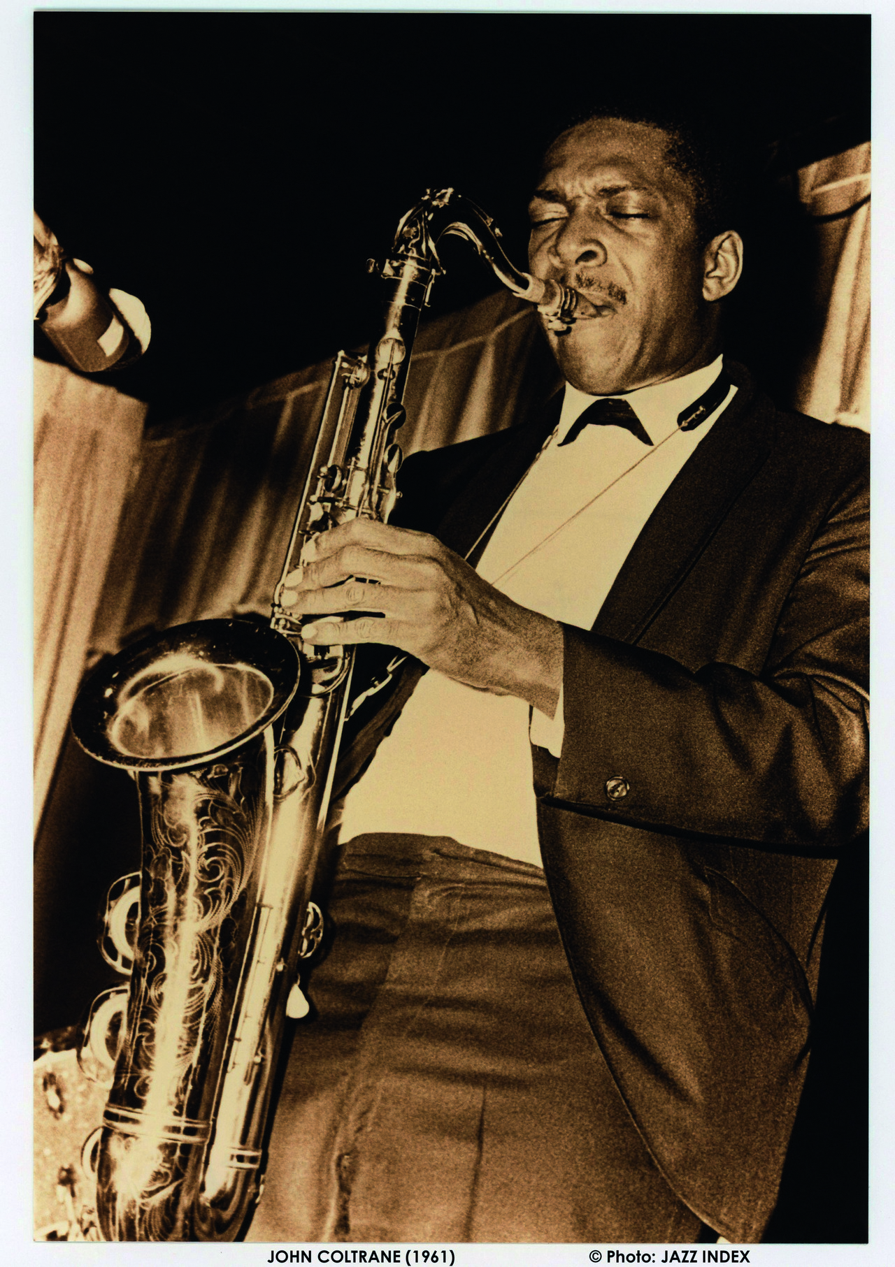 Saxophonist John Coltrane on tenor sax