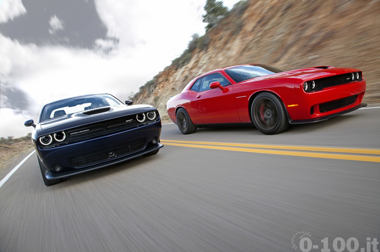 2015 Dodge Challenger SRT (left) and Dodge Challenger SRT Superc