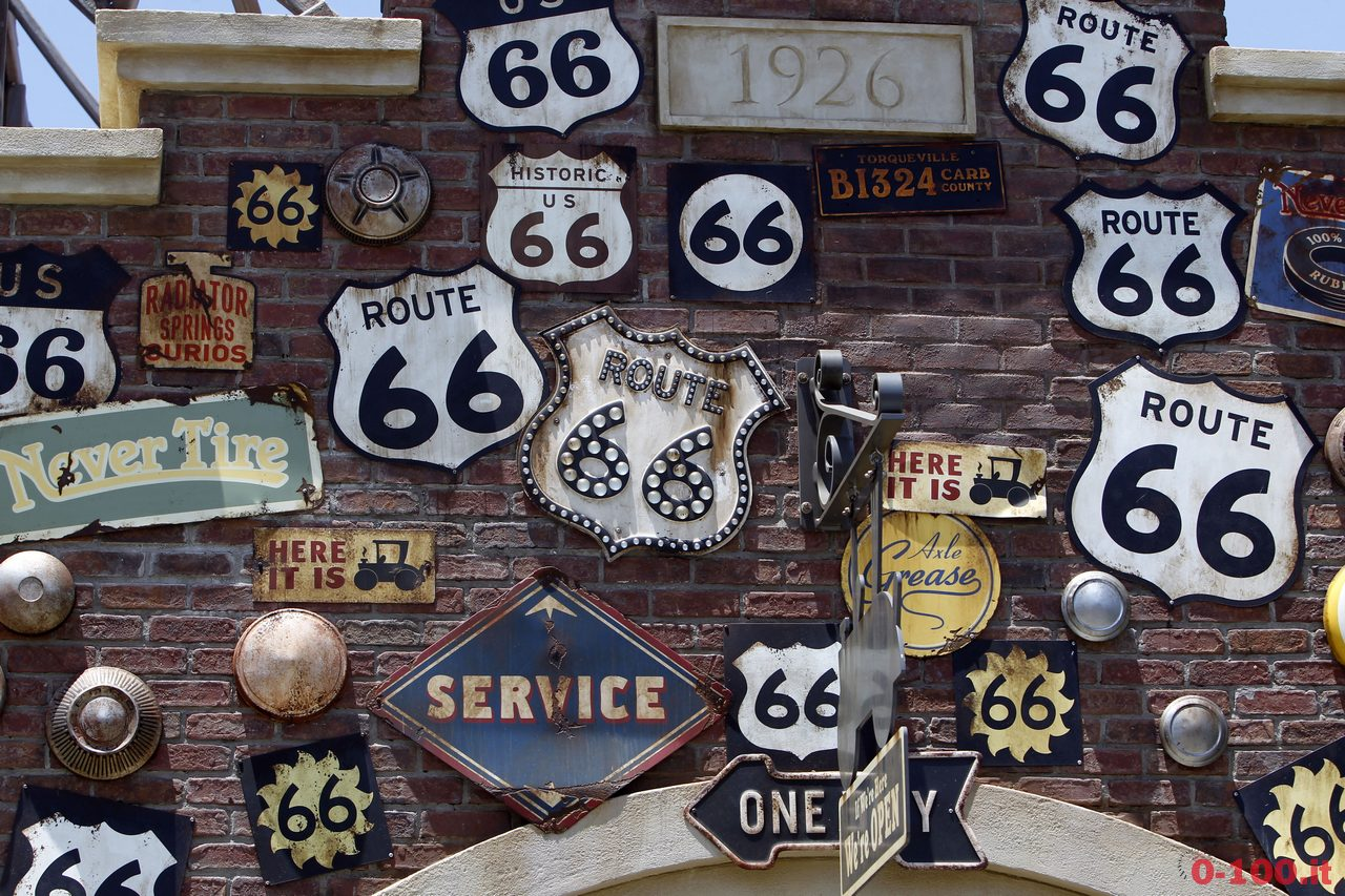 Expanded Disneyland California Adventure Park features signs from Route 66 as a theme in Cars Land at the park in Anaheim