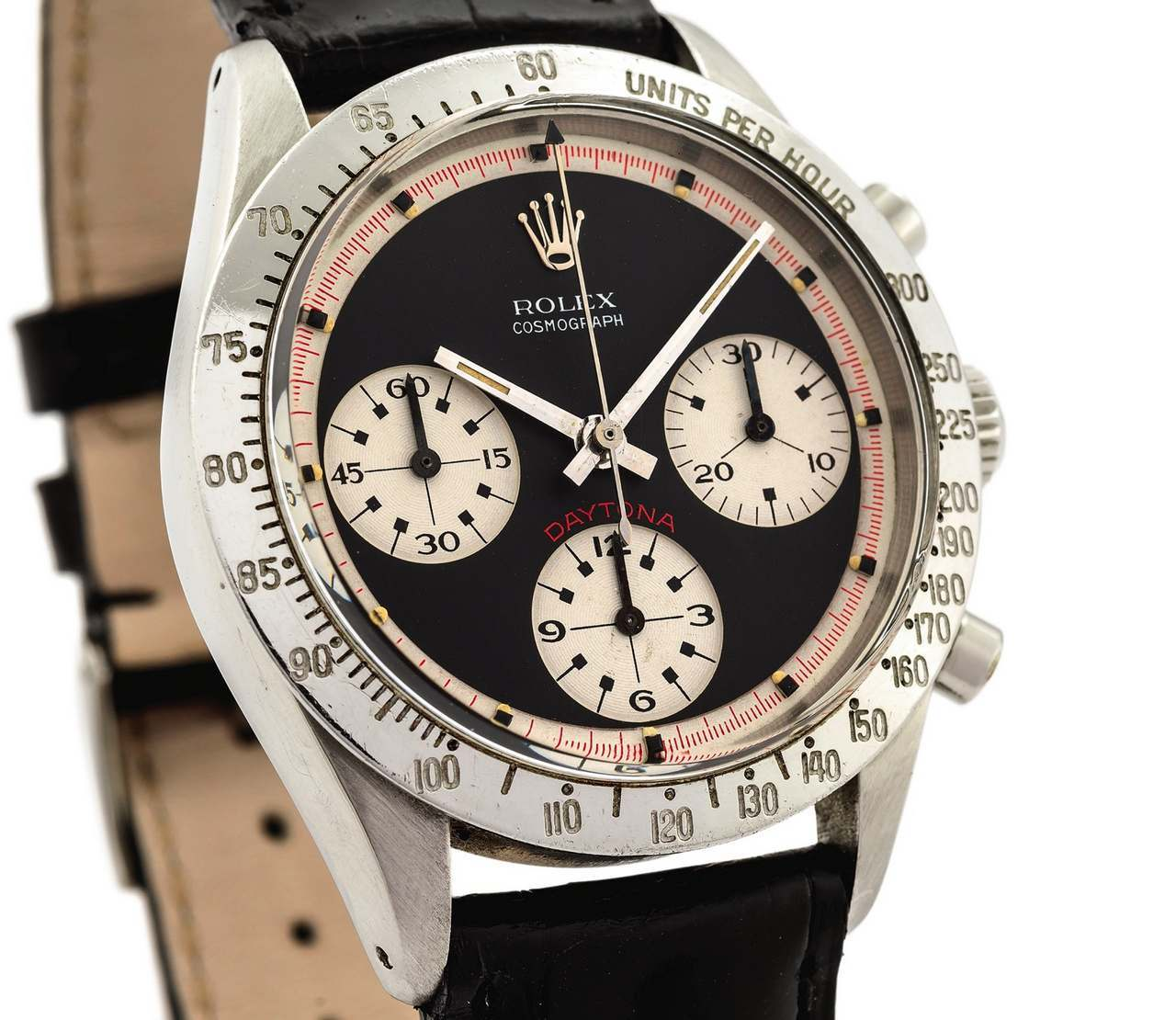 ROLEX REF. 6239 PAUL NEWMAN BLACK DIAL STEEL Rolex, Cosmograph Daytona,No. 1695116, Ref. 6239-source_antiquorum_0-100