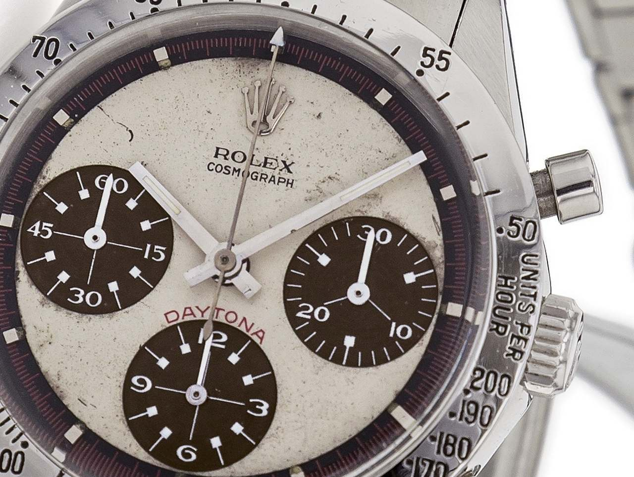 ROLEX REF. 6239 PAUL NEWMAN WHITE DIAL TROPICAL SUB-COUNTERS STEEL Rolex, Cosmograph Daytona, No. 1782156, Ref. 6239.source_antiquorum1