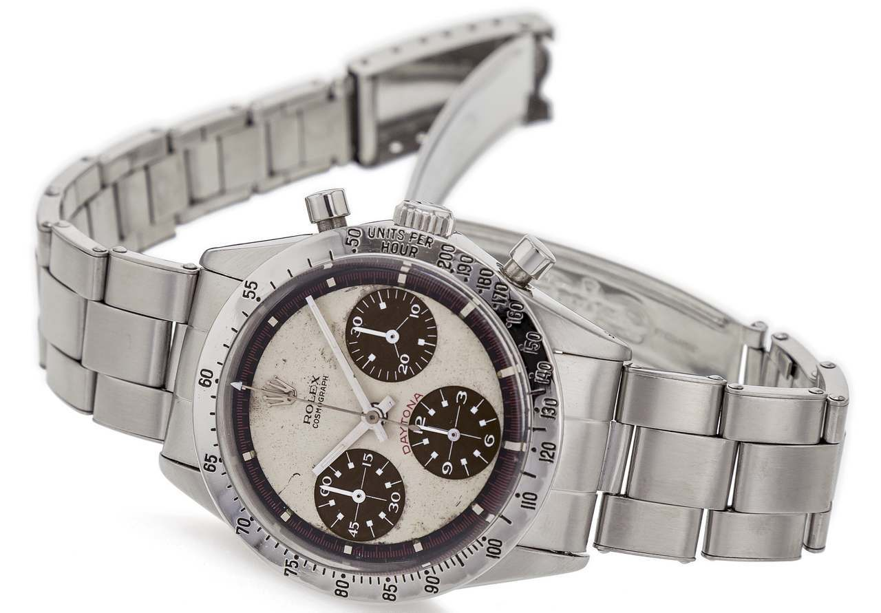 ROLEX REF. 6239 PAUL NEWMAN WHITE DIAL TROPICAL SUB-COUNTERS STEEL Rolex, Cosmograph Daytona, No. 1782156, Ref. 6239.source_antiquorum_0-100
