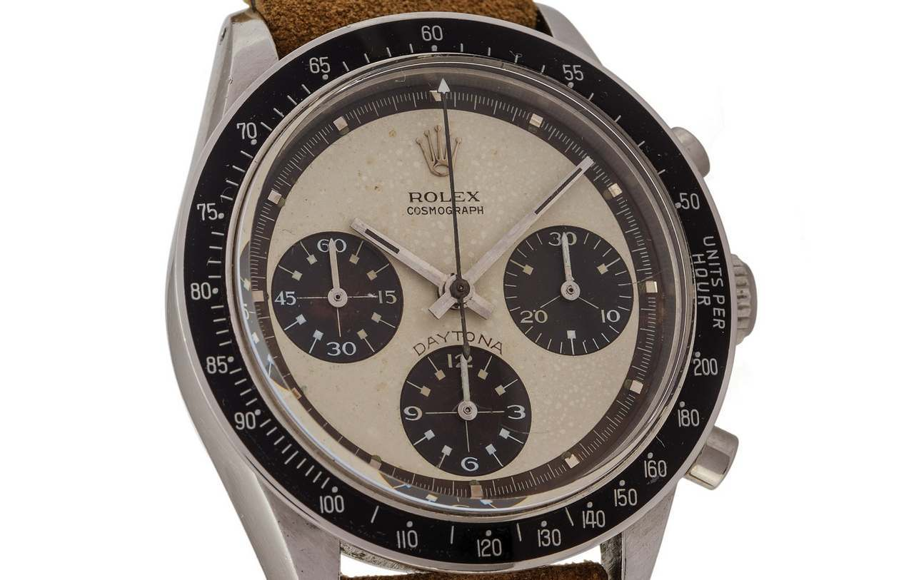 ROLEX REF. 6241 PAUL NEWMAN TROPICAL COUNTERS AND OUTER TRACK Rolex, Cosmograph, Daytona,case No. 1766136, Ref. 6241-source-antiquorum-0-100.